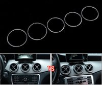 Wholesale Alloy 3d Style Rings - Silver Aluminium alloy Car Air conditioning outlet decorative ring Car styling 3D stickers for Mercedes Benz GLA CLA A,B class