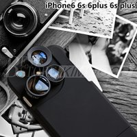 Wholesale Macro Fittings - For iphone 6s iphone 6s plus Case With 4 Lens Case Wide-angle Macro Lens Fish Eyes And 2 Times The Lens