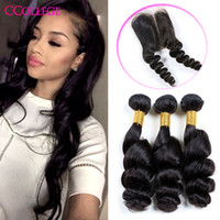 Wholesale Virgin Closures For Cheap - CCollege Hair Brazilian loose Wave 3 Bundle Deals With Lace Closure 9A Cheap Unprocessed Brazilian Human Virgin Hair Weave Bundles For Sales