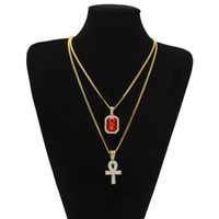 Wholesale Set Pendant 18k Gold - Egyptian Ankh Key of Life Bling Rhinestone Cross Pendant With Red Ruby Pendant Necklace Set Men Fashion Hip Hop Jewelry