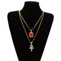 schmuck halsketten kreuze großhandel-Ägyptische Ankh Schlüssel des Lebens Bling Strass Kreuz Anhänger mit rotem Rubin Anhänger Halskette Set Männer Hip Hop Schmuck