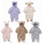 Wholesale Baby Fleece Hoodies - Autumn Winter Baby Rompers Bear style baby coral fleece brand Hoodies Jumpsuit baby girls boys romper newborn toddle clothing