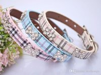 Wholesale Bling Dog Collar Personalized - Wholesale 2016 New Hot Selling Dog Collar Adjustable Classical Plaid Leather Pet Collar Rhinestones Bling Bone Necklace