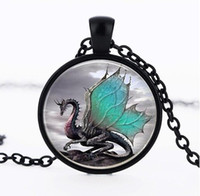 Wholesale Dragon Long Necklace - 2014 Blue Dragon Necklace Handmade glass dome Jewelry Long art Photo Necklace Charm Fantasy wing Dragon Jewelry CN-344