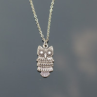 Wholesale Vintage Silver Owl Pendant - Wholesale- Vintage Silver Plated Owl Necklace For Women Love Pendants Bijoux Collares Jewelry Exo Colar 2017 Gift One Direction NA775