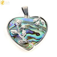 Wholesale Abalone Jewelry Making - CSJA New Zealand Natural Paua Abalone Shell Love Heart Rose Flower Charms Pendants for Necklaces Handmade Lady Jewelry Findings Making E338