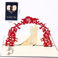 decorações para convites do casamento venda por atacado-Novo Design 3D Cartões De Convite De Casamento Manual Cartão Artesanal Decoração Saudação com Envelope Oco Doce Papel Vermelho Dobrado