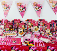 Wholesale Luxury Napkins Wholesale - 90pcs 2017 New Minnie Mickey Mermaid Mouse Theme Party Luxury kids birthday decoration plates cups straws napkins party supplie