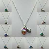 Wholesale Mermaids Resin - New Fashion Random Color Creative Alloy Resin Mermaid Fish Scales Convex Surface Pendant Necklace Jewelry Lovely Gifts