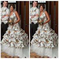 Wholesale Back Up Online - A-Line Camouflage Wedding Dresses White Camo Lace Up Back Bridal Gowns 2017 New Draped Plus Size Custom Online Vestidos De Novia
