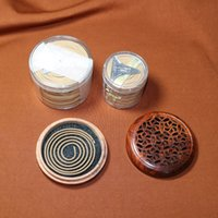 Wholesale wooden desk box - wholesale 4Hrs coils incense wood burner box circle wooden censer with fireproof cotton Chinese classical style desk decora