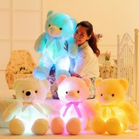 Wholesale Led Lighted Teddy Bear - 50cm And 80cm Creative Light Up LED Inductive Teddy Bear Stuffed Animals Plush Toy Colorful Glowing Teddy Bear Christmas Gift for Kids