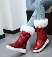 Wholesale Sequin Boots Sale - Wholesale New Arrival Hot Sale Specials Super Fashion Influx Martin Elegant Fur Snow Warm Sequins Bright Casual Knight Knee Boots EU34-43