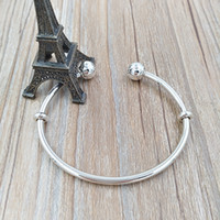 Wholesale Cubic Bangle Bracelets Wholesale - Authentic 925 Sterling Silver Moments Silver Open Bangle Fits European Pandora Style Jewelry Charms Beads 596477