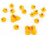 Wholesale Rubber Duck Cartoon - 100pcs lot Wholesale mini Rubber bath duck Squeeze animal Rubber Bathing water Pvc duck with sound Floating Duck Fast delivery Swiming Beach