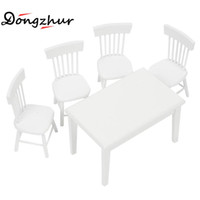 Wholesale Wholesale Dollhouse Table - Wholesale- Dongzhur White 1:12 DollHouse Kitchen DIY Cabin Miniature Dollhouse Furniture Model Toy Decoration Square Dining Table Chair Set