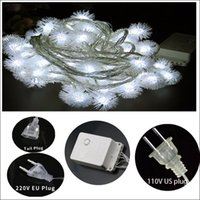 Wholesale Usb Plug Strip - LED strip 10M snowball LED fairy string decorated chritmas tree wedding party holiday US plug EU plug USB connector dry battery operated