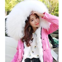 Wholesale Genuine Fox Fur Coat Jacket - OFTBUY 2017 pink winter jacket women natural fur coat female parka real value Genuine fox fur liner raccoon fur collar hooded