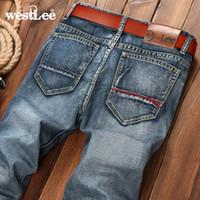 Wholesale Cowboy Legs - Wholesale-new brand men retro design casual straight leg denim jeans male regular fit cotton business cowboy trousers pant vaqueros hombre