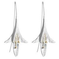 925 thailand großhandel-5 paare / los 925 Silber Sterling Lange Blume Ohrringe Weibliche Hochwertige Handgemachte Blume Ohrringe Thailand Handwerk Großhandel