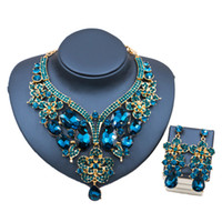 Wholesale Palace Glass - Lan Palace Luxury Jewelry Sets Gold Color Dubai Glass Rhinestone Necklace And Earrings For Wedding Six Colors Free Shipping