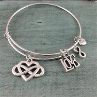 Wholesale infinity bracelets for sale - 12pcs Infinity Heart Adjustable Bangle Bracelet Gift for Her Charm Bracelet Bangle Bracelet