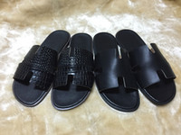 Wholesale Male Flat Slippers - 2017 Genuine Leather Sandals Male Slippers Flat Casual Beach Nubuck Leather Cowhide Word Slippers