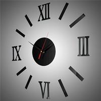 Wholesale wall clocks roman numerals - Wholesale- BLUELNAS Vintage Roman Numerals Frameless Wall Clock 3D Home Decor Wall Art Stickers