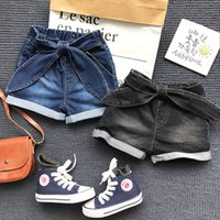 Wholesale Kids Bow Jeans - Girls Denim Bow Short pants Kids Girls Fashion Casual Trouser Babies Autumn rolled Jeans 2017 baby clothes