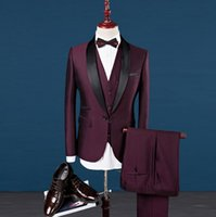 Wholesale Wool Dress Blazer - 2017 silm fit Best man suit Groom Tuxedos prom Business Wine red royal blue Wedding dress Suits Men host Blazer Set jacket pant vest 3piece
