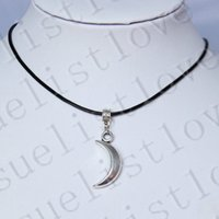 Wholesale Trinkets Sale - Wholesale-Hot Sale Moon Crescent Charm Pendant Choker Necklace with Black Genuine Leather Cord Bijouterie Trinket Charms Jewelry