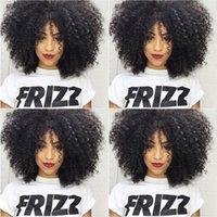 Wholesale Black Full Fashioned Stockings - Fashion Bob Kinky Culry Wigs Simulation Human Hair Wave Full wigs For black Women In Stock