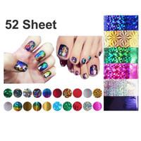 Wholesale Sticker 52 - Wholesale- 52 Pcs Mix Color Transfer Foil Nails Art Start Design Sticker Decal For Polish Care DIY Free Shipping