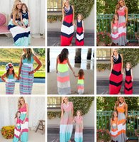 Wholesale mom vest - Mother And Daughter Dresses Summer Navy Style Striped Long Dress Fashion Mom And Baby Clothing Sleeveless Vest Stitching Dress OVer 20style