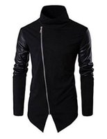 New Fashion Mens Casual Stehkragen Zip-Up Schlank Strick Pu-lederjacke