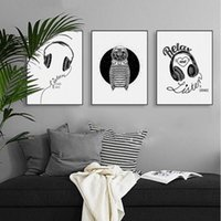 Resumen Negro Blanco Music Quotes Canvas A4 Art Poster Poster Cuadro de pared Nordic Living Room Tríptico Home Deco Paintin Sin Marco