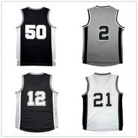 Wholesale D R L - Men 100% Stitched L eonard #2 Basketball Jersey Cheap D -uncan #21 A -ldridge #12 R -obinson #50 Jersey sales Embroidery Logos Free shipping