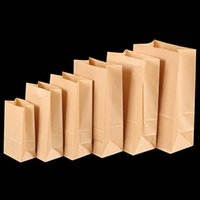 Wholesale Flat Safes - 50pcs lot Food Grade Safe Brown Open Top Kraft Paper Bags Flat Bottom Take-out Bags for Shopping Package Pouch at Bakery or Grocery