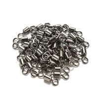 100Pcs Roulements à billes Swirl Solid Rings Fish Connector Round 8 Shape Eye Rolling Swivels Rig Sea Carp Outils de pêche Multi Sizes