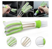 Wholesale Diy Green Cleaning - Car Diy New Plastic Car Air Conditioning Vent Blinds Cleaning Brush For Series Part Accessories Duster Brush Cleaner Green Color