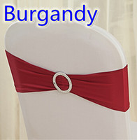 Wholesale Wedding Chairs Covers For Sale - Burgandy colour on sale chair sash with Round buckles for chair covers spandex band lycra sash bow tie wedding decoration