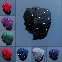 Wholesale Skinny Tie Pattern For Men - Man Gravata Bowtie Corbatas Slim Cravat Knit Tie Skinny Neck ties Polka Dots Pattern Flat Head Narrow Ties for Holiday