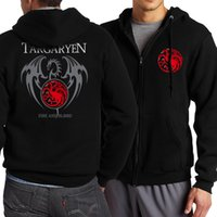 Wholesale Men Casual Zip Up Hoodie - Wholesale- 2017 Spring Autumn Game of Thrones Targaryen Fire & Blood Men Sweatshirt Zip Up Hoodies Men Brand Clothing For Movie Fans S-4XL