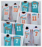 Wholesale Men Tropical Shirts - Throwback Green White 33 Jackie Moon Jersey 7 Coffee Black Sport Shirt 11 ED Monix Jerseys Flint Tropical Semi Professional Basketball Movie