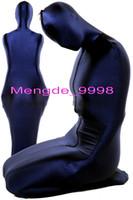 blauer lycra-anzug großhandel-Unisex Mumien Schlafsack Kostüme Dunkelblau Lycra Spandex Mumien Outfit Anzug Kostüme Phantasie Schlafsack Unisex Halloween Cosplay Anzug M081