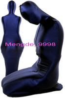 mavi lycra elbisesi toptan satış-Unisex Mumya Uyku Tulumu Kostümleri Koyu Mavi Likra Spandex Mumya Kıyafet Suit Kostümleri Fantezi Uyku Tulumu Unisex Cadılar Bayramı Cosplay Suit M081