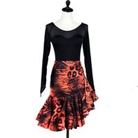 tanz kostüm tango großhandel-Latin Dance Dress Frauen Salsa Kleid Tango Samba Kostüm Shirt Rock Set D0214 Lange Netzhülse Rüschen am Saum