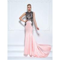 Wholesale Evenig Dress Pink - Sexy Mermaid Evenig Dresses Jewel Appliques Sleeveless Empire Court Train 2017 New Arrival Evening Gowns Red Carpet Dress Vestidos de noche