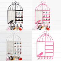 Forma de Birdcage Suporte de parede Jóias Display Stand Rack Pendente Pendente Holder Colar Birdcage Earring Holder Organizer Hanger Display Stand