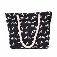 Wholesale Wholesale Horse Handbags - Wholesale- Women Handbag Canvas Horse Large Capacity Shoulder Bag Casual Tote Beach Satchel Bag Bolsa De Praia Bolsas Feminina #7011